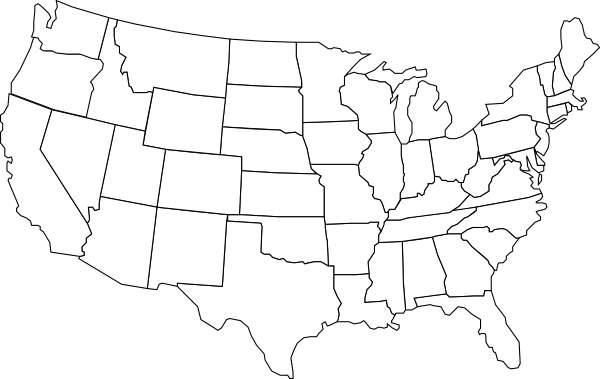 USA clipart black and white Map clip Clker Black as: