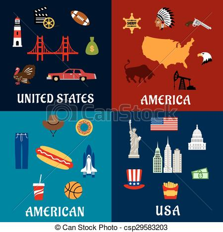 USA clipart icon vector Flat travel USA flat american