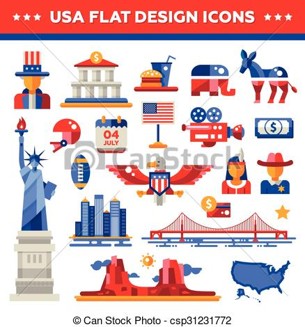 USA clipart icon vector USA USA travel of landmarks