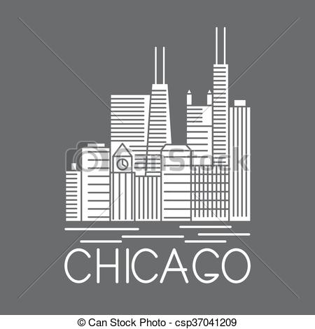 USA clipart icon vector Line Illinois Clipart USA skyline