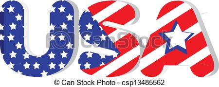 USA clipart word In flag USA of word