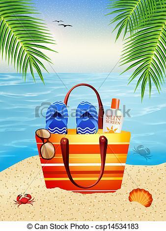 Vacation clipart beach bag Csp14534183 Illustration Beach bag of