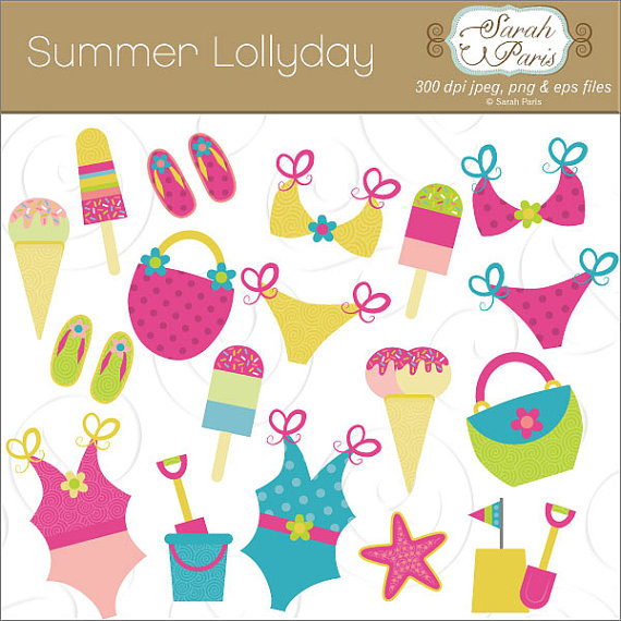 Vacation clipart beach bag Vacation art bikinis Summer images