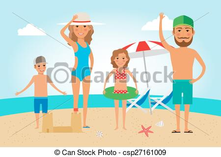 Vacation clipart beach person Of  Family Clipart Vacation