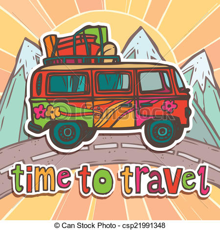 Vacation clipart bus With EPS Vector of with