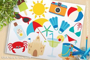 Vacation clipart cute beach Pack Market on Clipart ~