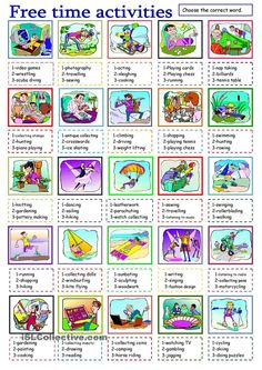 Vacation clipart free time activity ACTIVITIES Mostra AND  HOBBIES