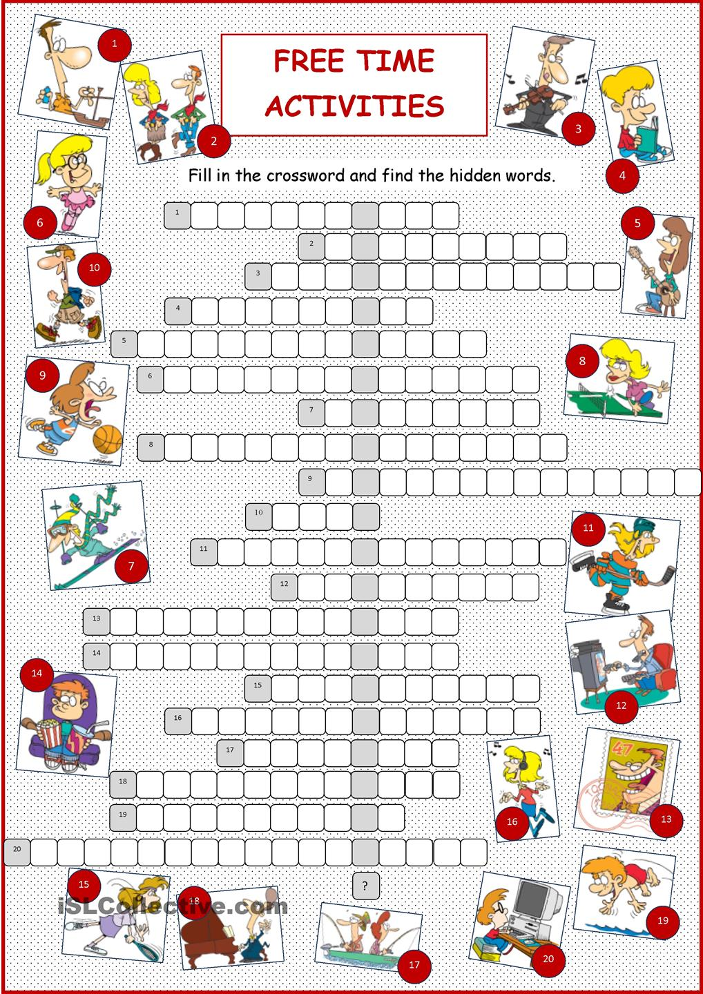 Vacation clipart free time activity Crossword Free Free TIME Crossword