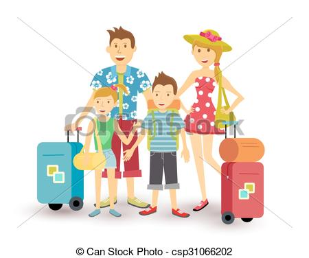 Vacation clipart happy family Happy of Vector summer