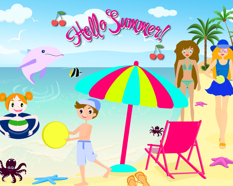 Vacation clipart kid beach Beach Clip digital Illustration Summer