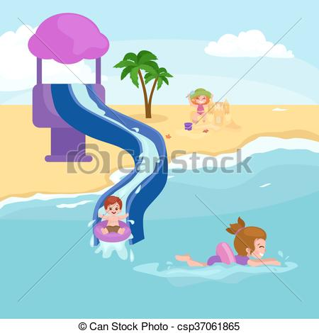 Vacation clipart kid beach Kids vacation Vector Clip sand