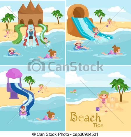 Vacation clipart kid beach Playing Kids of Vector