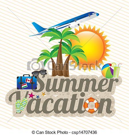 Vacation clipart logo Summer vacation summer Vectors white