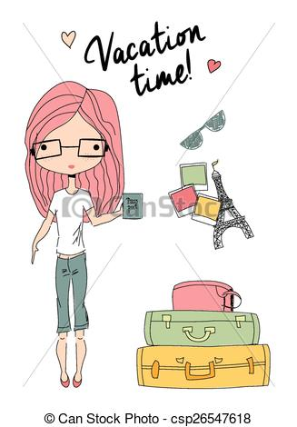 Vacation clipart next To Clip to Girl csp26547618