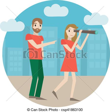 Vacation clipart tour guide Guide  a telescope of