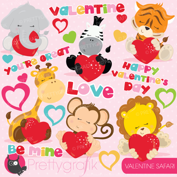 Animl clipart valentine With love big safari safari