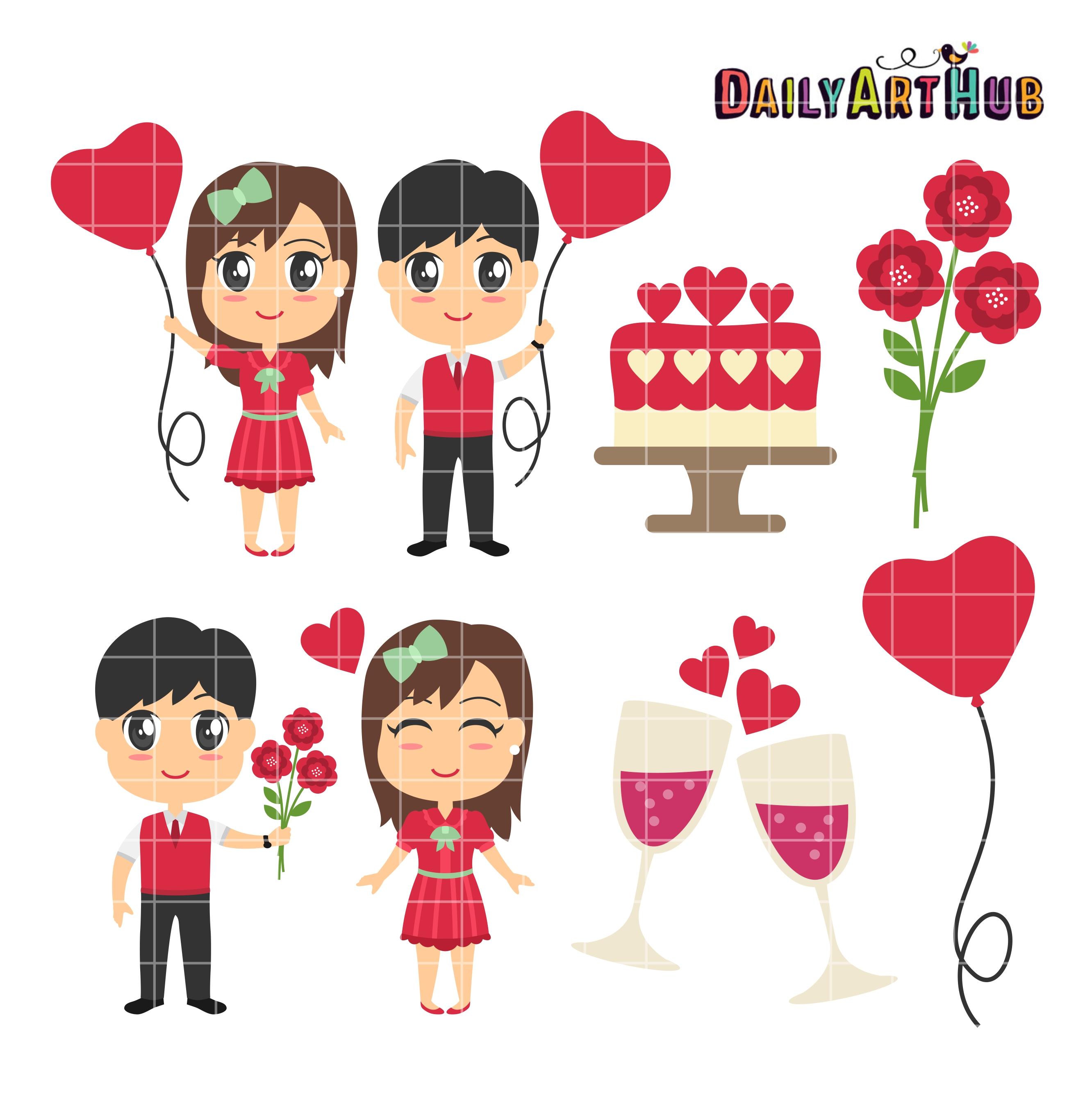 Celebration clipart valentine's day Set Valentines Couples Day Valentines