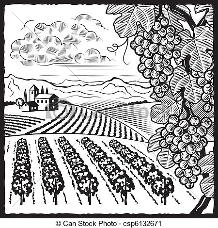 Vineyard clipart agriculture Landscape and black Vector Clip