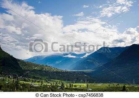 Valley clipart forest road Rain csp7456838 mountains after high