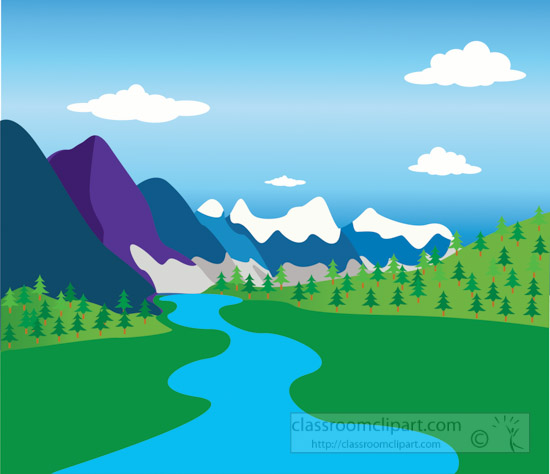 Geography clipart mountain And Valley valley Mountain river
