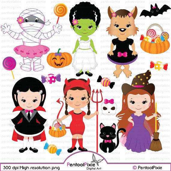 Dracula clipart frankenstein Cute frankenstein girl witch girls