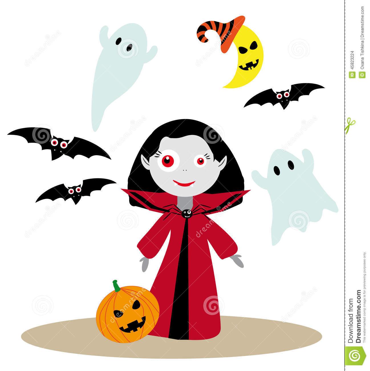 Dracula clipart cute halloween Girl Female Vampire moon nice
