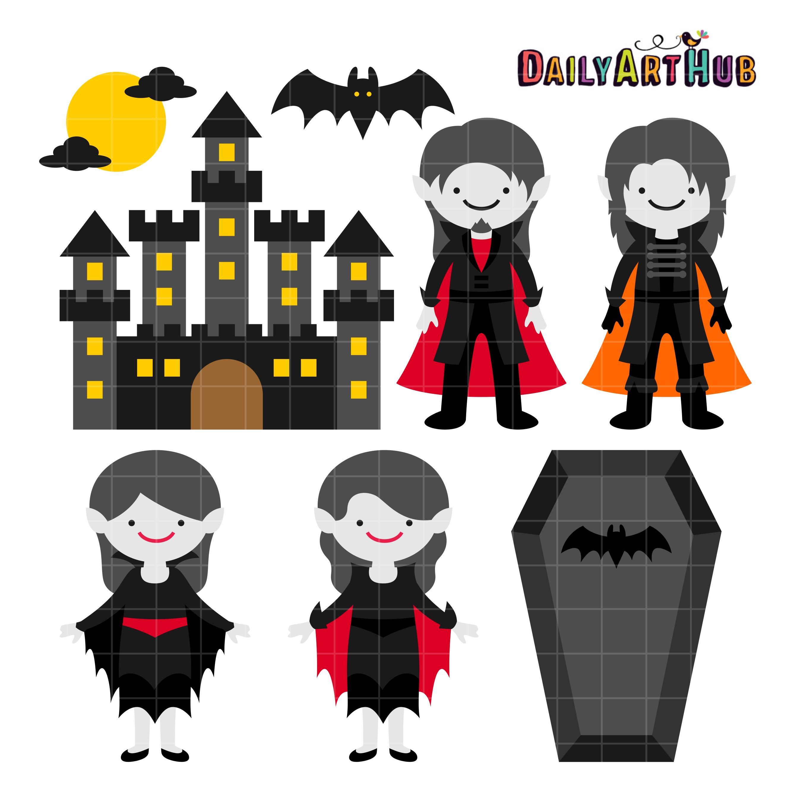 Vampire clipart halloween vampire Art Halloween Vampire Set Castle
