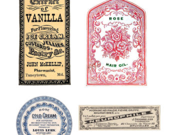 Vanilla clipart apothecary Download Apothecary Digital Labels vintage