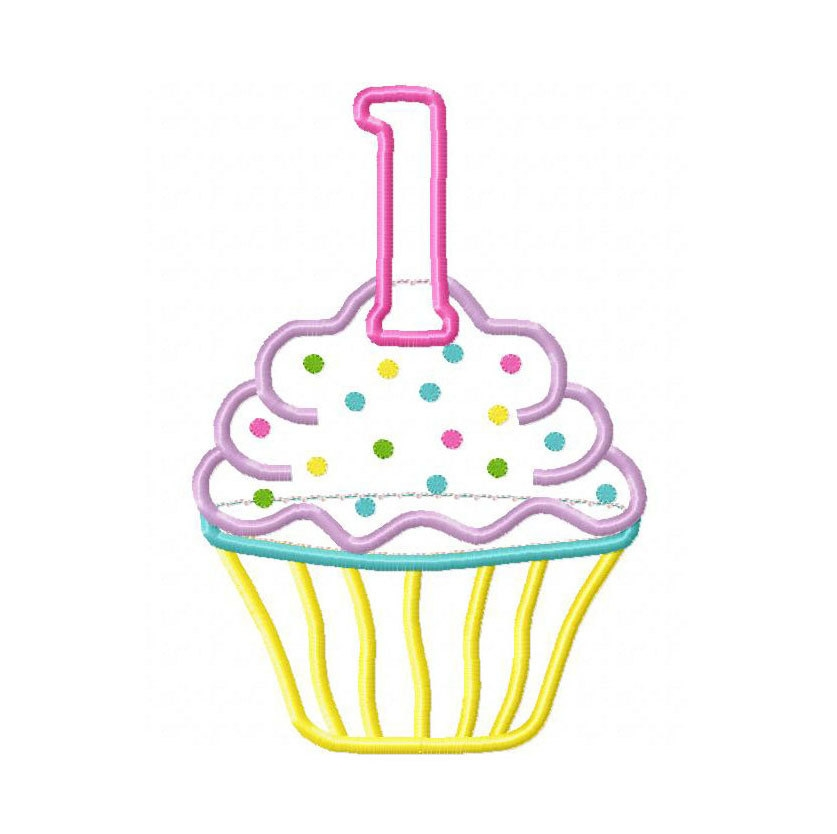 Vanilla Cupcake clipart 1st Gg one embroidery Birthday designs