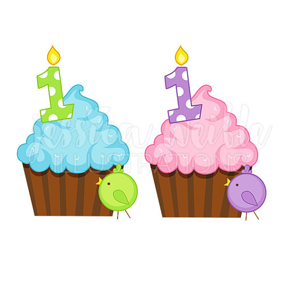 Birthday clipart muffin Birthday Clipart Digital First Cupcake