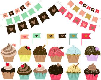 Vanilla Cupcake clipart bake sale Etsy clipart pennats Cupcake Cupcakes