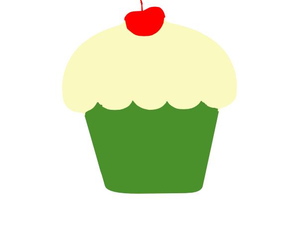 Vanilla Cupcake clipart green cupcake Cupcake royalty vector Cupcake Clker