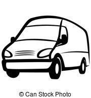Vans clipart black and white : illustration Commercial EPS Commercial