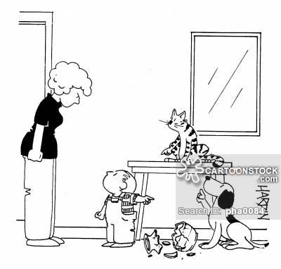 Vase clipart child breaks Vase all over cat Child