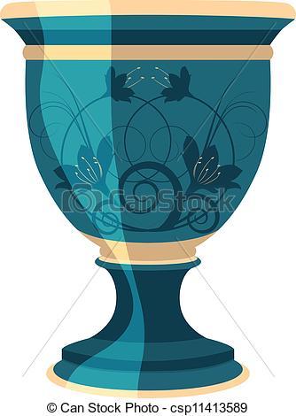 Blue Flower clipart vase  Vector Vector flowerpot illustration