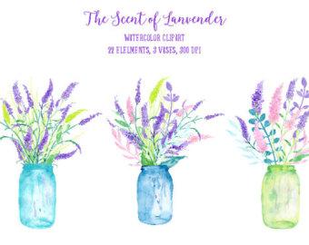 Blue Flower clipart vase Clip lavender Watercolor Etsy clipart