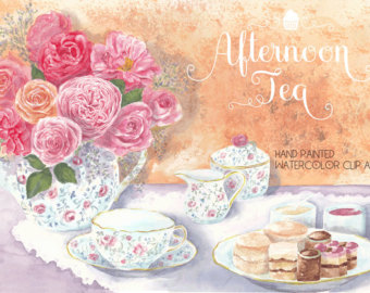 Pastry clipart cream tea Afternoon Etsy art tea tea