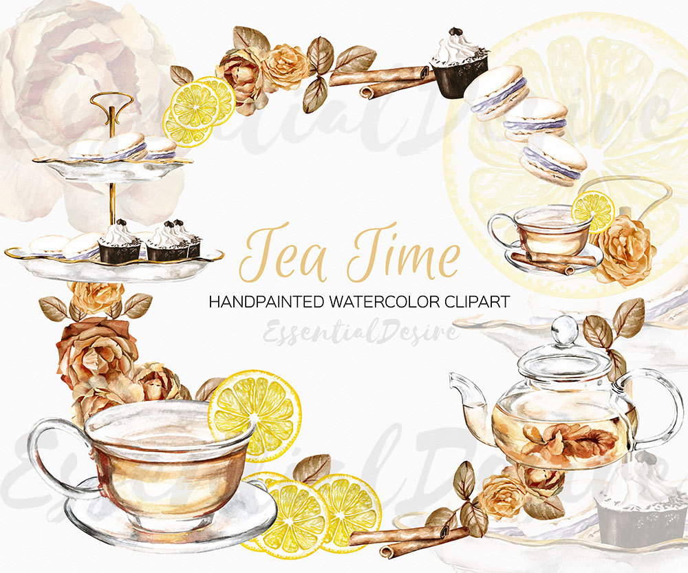 Teapot clipart tea biscuit Clip Art Watercolor clipart Tea