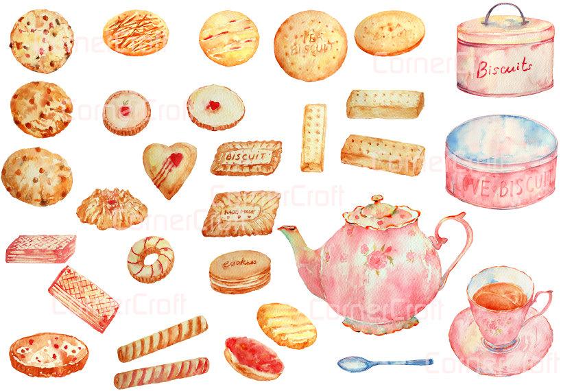 Teapot clipart tea biscuit Download and Digital Biscuits wedding