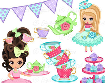 Tea Party clipart cartoon Etsy Ideas Mad Teacups Tea