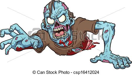 Zombie clipart vector Crawling Cartoon  csp16412024 of