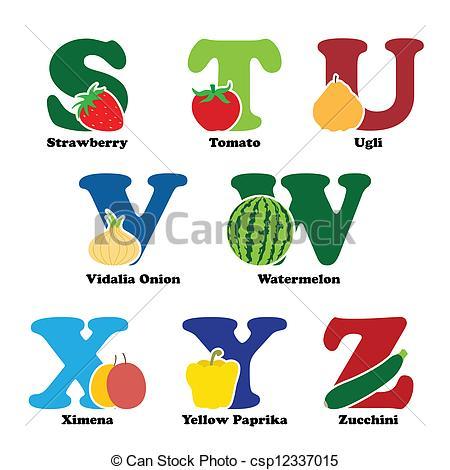 Fruits & Vegetables clipart alphabet  vector csp12337015 and alphabet