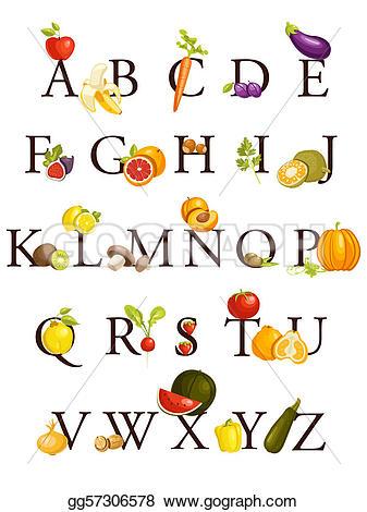 Fruits & Vegetables clipart alphabet Clipart alphabet  vegetables Illustration