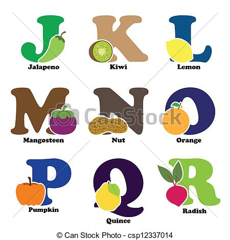 Fruits & Vegetables clipart alphabet  vector csp12337014 and alphabet