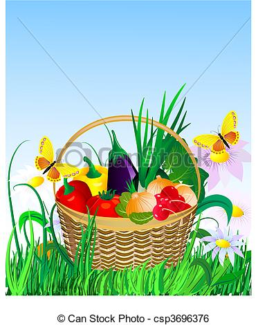 Vegetables clipart basket drawing Art basket on vegetables lawn