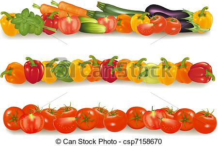 Vegetable clipart border Vector vegetable realistic csp7158670 design