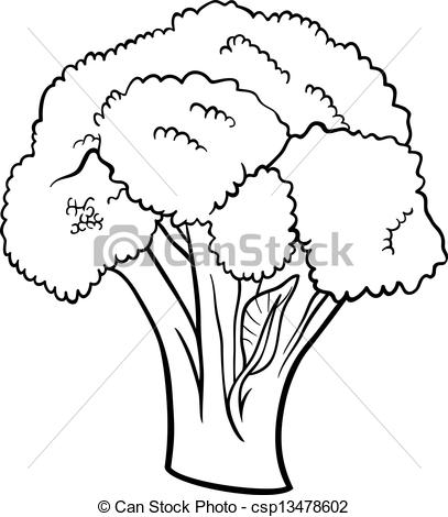 Broccoli clipart black and white Cartoon Clipart cartoon vegetable for