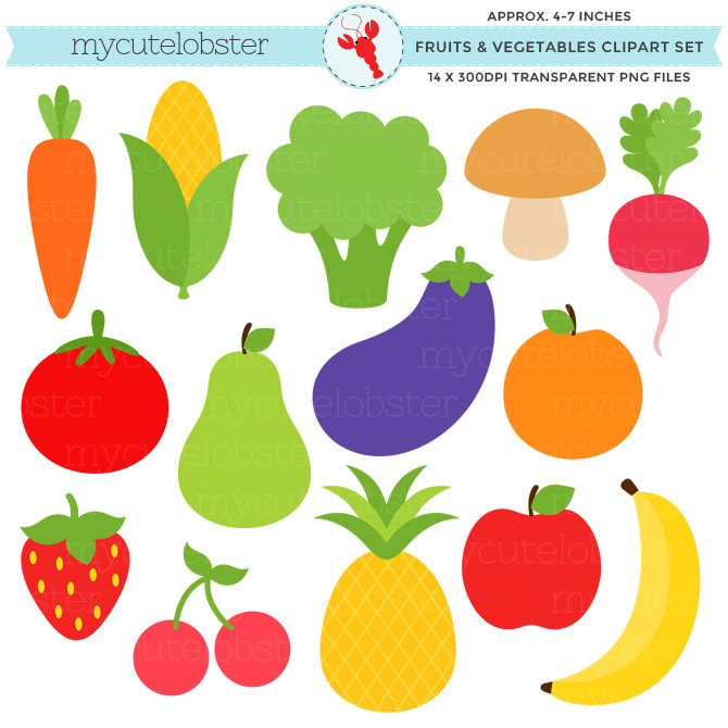 Banana clipart individual Set carrot Fruits Vegetables art