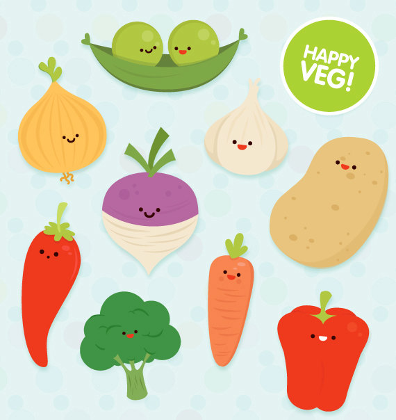 Vegetable clipart cute Commercial ColorPlanet Veg educational Veg