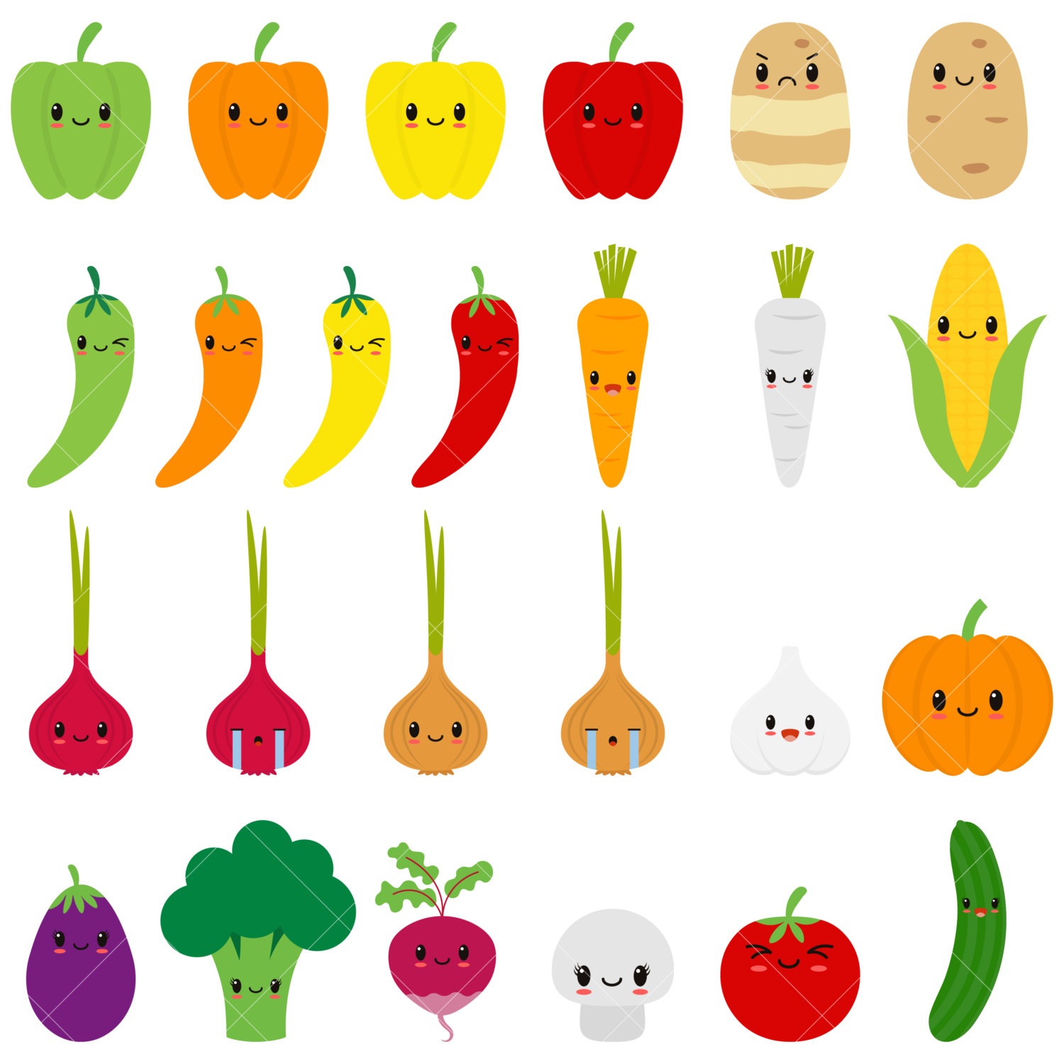 Vegetable clipart cute Happy Vegetable This Clipart is